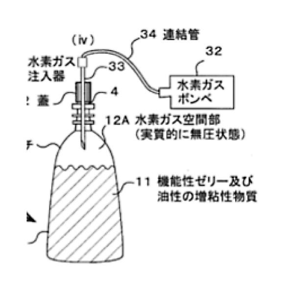 (22) 外面押圧方式体で、水素濃度が高く、粘度の高い化粧ジェルを形成する